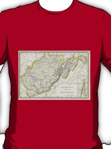 Vintage Map of West Virginia (1889) T-Shirt