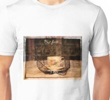 'But First Tea' typography on vintage tea cup and saucer photograph Unisex T-Shirt