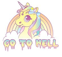 """""""Go To Hell"""" Mean Unicorn (pastel) Photographic Print"""