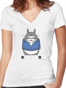 My Favorite Neighbor Totoro Women's Fitted V-Neck T-Shirt
