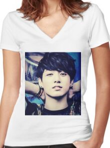 Jeon Jungkook Women's Fitted V-Neck T-Shirt