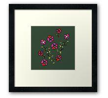 flowers on dark green Framed Print