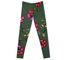 flowers on dark green Leggings