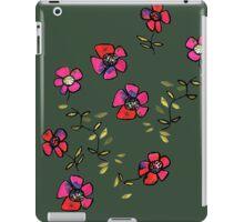 flowers on dark green iPad Case/Skin