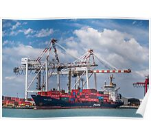 Giant container ship in port Poster