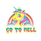 """Go To Hell"" Mean Unicorn (neon) by Amy Grace"