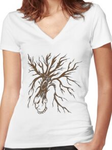 """Post-T """"Wood"""" Women's Fitted V-Neck T-Shirt"""