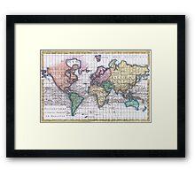 Vintage Map of The World (1780) Framed Print
