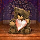 Teddy Holding Love Heart by imaginecgimages