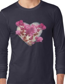 Heart Shaped with Flowers Digital Collage Long Sleeve T-Shirt