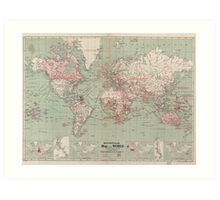 Vintage Map of The World (1918)  Art Print