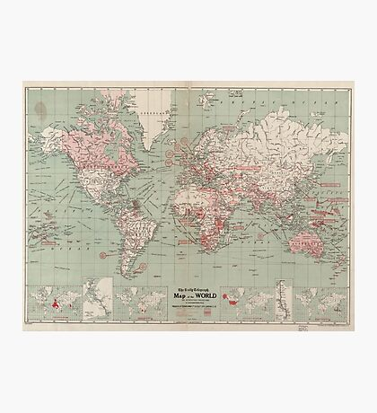 Vintage Map of The World (1918)  Photographic Print