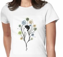 """Flora"", floral art, girl's profile, flowers, ink &  watercolor Womens Fitted T-Shirt"