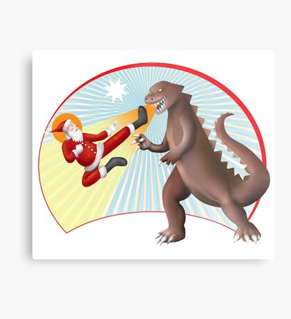 Santa Claus vs Dino Metal Print