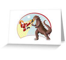 Santa Claus vs Dino Greeting Card