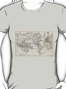 Vintage World Telegraph Lines Map (1855) T-Shirt
