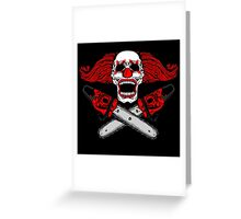 Clown and Chainsaws Greeting Card
