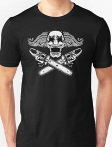 Clown and Chainsaws BW Unisex T-Shirt