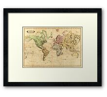 Vintage Map of The World (1831)  Framed Print
