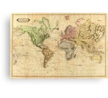 Vintage Map of The World (1831)  Canvas Print
