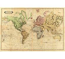 Vintage Map of The World (1831)  Photographic Print