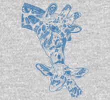 Giraffe Blue One Piece - Long Sleeve