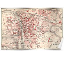 Vintage Map of Wurzburg Germany (1905) Poster