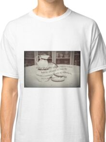 'When your day seems topsy turvy!' typography on vintage tea cup and saucer photograph Classic T-Shirt