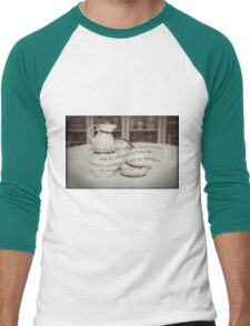 'When your day seems topsy turvy!' typography on vintage tea cup and saucer photograph Men's Baseball ¾ T-Shirt