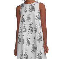 Gray, silver ornament, asymetric floral design A-Line Dress