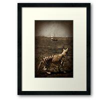 Tasmanian tiger and sailing ship Framed Print