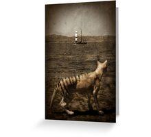 Tasmanian tiger and sailing ship Greeting Card