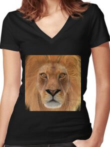 Male Lion Women's Fitted V-Neck T-Shirt