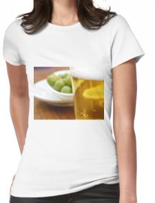 Pint of beer served with olives  Womens Fitted T-Shirt