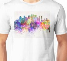 Calgary V2 skyline in watercolor background Unisex T-Shirt