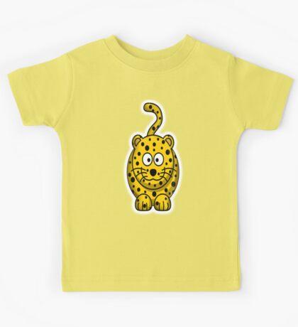 Leopard, Cartoon, Cute, Spotty, Big Cat, Yellow, CAT Kids Tee