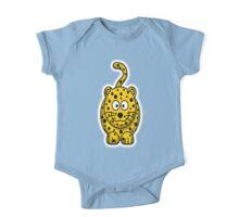 Leopard, Cartoon, Cute, Spotty, Big Cat, Yellow, CAT One Piece - Short Sleeve