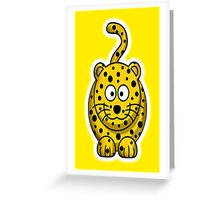 Leopard, Cartoon, Cute, Spotty, Big Cat, Yellow Greeting Card