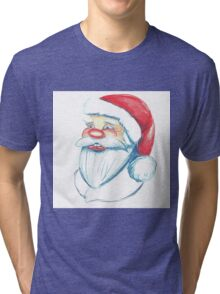 Hand drawn portrait of Santa Claus. Watercolor pencils illustration.  Tri-blend T-Shirt