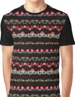 Seamless pattern with hearts, flowers and mushrooms on white background Graphic T-Shirt