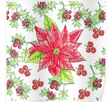 Christmas arrowhead plant, red holly berries.  Poster