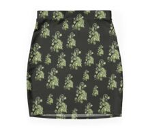 Cannary green flowers on black, ornament, asymetric floral design Mini Skirt