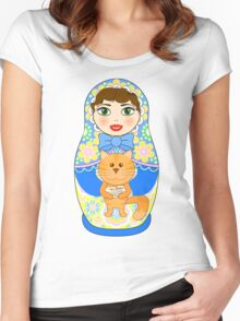 Russian doll matryoshka. Russian souvenir, tradition. Women's Fitted Scoop T-Shirt