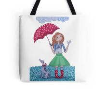 Girl with umbrella and Dog on a rainy day Tote Bag