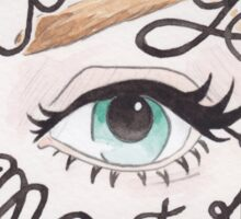 Cat Eye Master // Watercolor Illustration of a Blue Eye with Cat Eye Liner and Calligraphy Lettering Sticker