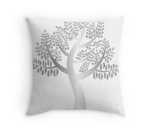 Silver look tree in white Throw Pillow