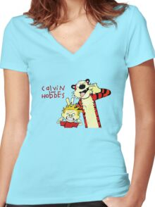 Funny T-shirt for kid, Calvin&Hobbes Women's Fitted V-Neck T-Shirt