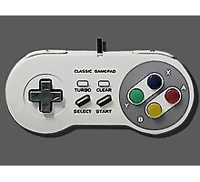 Classic gamepad controller, 80s SNES pad pattern, gray Photographic Print