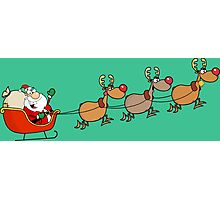 Santa Claus with Deers Photographic Print