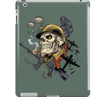 Airborne, Military Skull Smoking a fat Cigar while Bombs are Falling iPad Case/Skin
